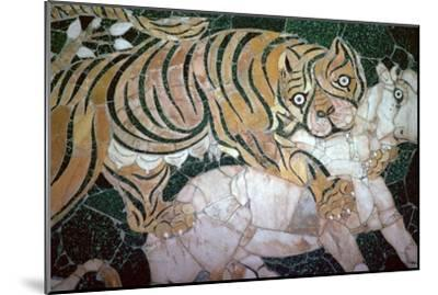 Opus sectile mosaic of a tiger seizing a calf, 4th century. Artist: Unknown-Unknown-Mounted Giclee Print