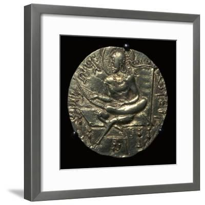 Gold coin of King Samudra Gupta, 4th century. Artist: Unknown-Unknown-Framed Giclee Print