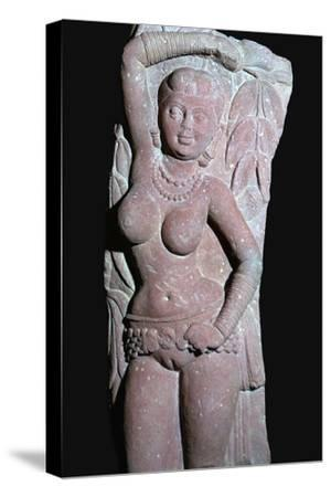 A yakshi (tree-goddess) from a Jain Stupa, 2nd century. Artist: Unknown-Unknown-Stretched Canvas Print