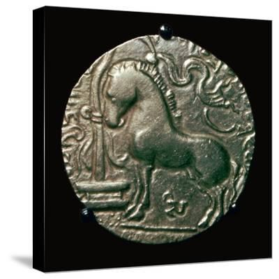 Gold coin of King Samudra Gupta, 4th century. Artist: Unknown-Unknown-Stretched Canvas Print