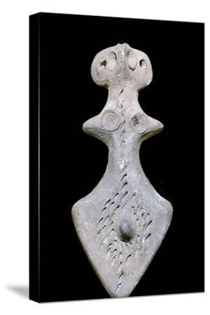 Indian terracotta bisexual figure, 3rd century BC. Artist: Unknown-Unknown-Stretched Canvas Print