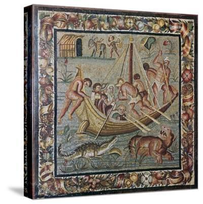Roman wall mosaic of a ferry-boat, 1st century. Artist: Unknown-Unknown-Stretched Canvas Print