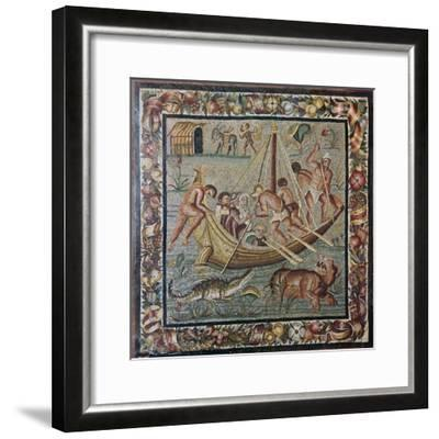 Roman wall mosaic of a ferry-boat, 1st century. Artist: Unknown-Unknown-Framed Giclee Print