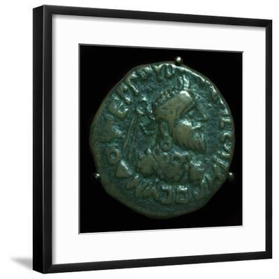 Bronze coin of the Parthian King Gondophares. Artist: Unknown-Unknown-Framed Giclee Print
