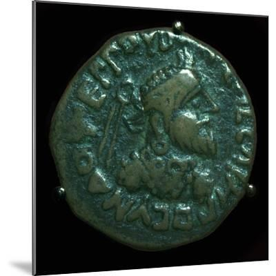 Bronze coin of the Parthian King Gondophares. Artist: Unknown-Unknown-Mounted Giclee Print