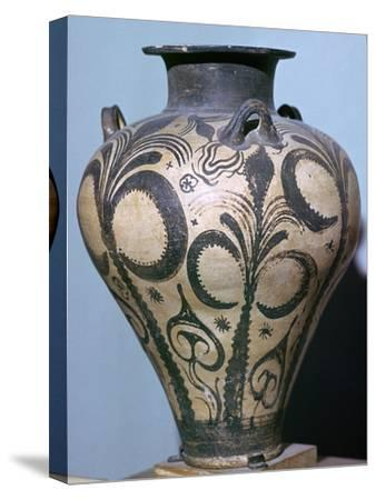 Mycenaean amphora with plant forms, 15th century. Artist: Unknown-Unknown-Stretched Canvas Print