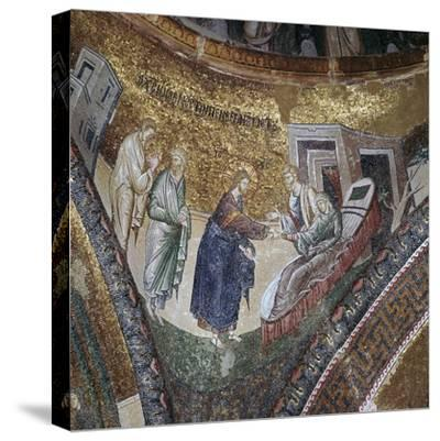 Byzantine mosaic of the rising of Peter's wife's mother, 14th century. Artist: Unknown-Unknown-Stretched Canvas Print