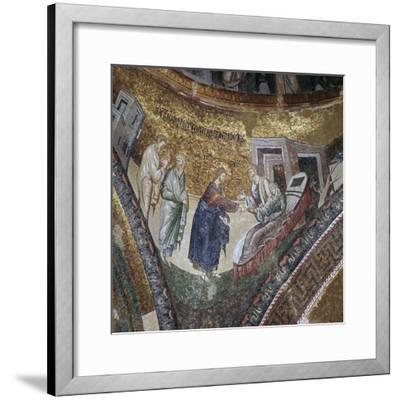 Byzantine mosaic of the rising of Peter's wife's mother, 14th century. Artist: Unknown-Unknown-Framed Giclee Print