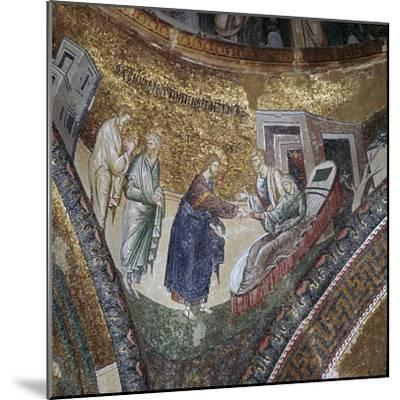 Byzantine mosaic of the rising of Peter's wife's mother, 14th century. Artist: Unknown-Unknown-Mounted Giclee Print