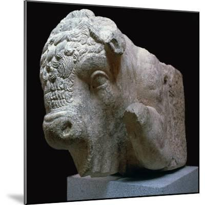 Bull's head Roman sculpture from the Municipal Forum in Merida, 1st century BC. Artist: Unknown-Unknown-Mounted Giclee Print