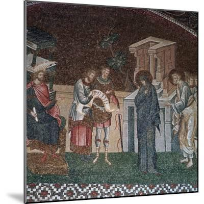 Religious depiction of the taking of the census for taxation, 14th century. Artist: Unknown-Unknown-Mounted Giclee Print