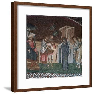 Religious depiction of the taking of the census for taxation, 14th century. Artist: Unknown-Unknown-Framed Giclee Print