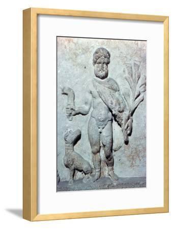 Detail from a stone plinth showing Silvanus, 1st century BC. Artist: Unknown-Unknown-Framed Giclee Print