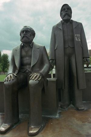 Sculpture of Karl Marx and Engels. Artist: Unknown-Unknown-Framed Photographic Print