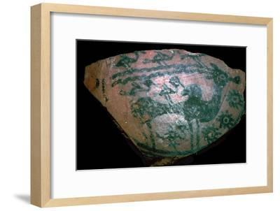 Pakistani sherd painted with stylised humped bull, 18th century BC. Artist: Unknown-Unknown-Framed Giclee Print