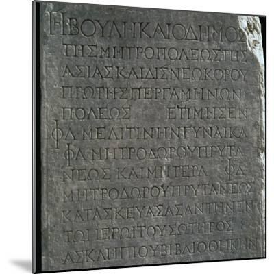 Greek inscription in the Asklepion in Pergamum. Artist: Unknown-Unknown-Mounted Giclee Print
