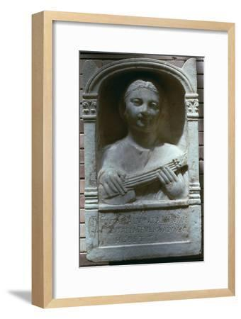 Roman relief of a girl with a lute, 1st century. Artist: Unknown-Unknown-Framed Giclee Print