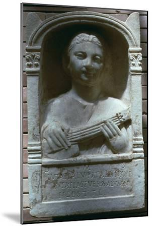 Roman relief of a girl with a lute, 1st century. Artist: Unknown-Unknown-Mounted Giclee Print