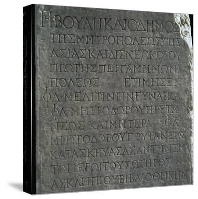 Greek inscription in the Asklepion in Pergamum. Artist: Unknown-Unknown-Stretched Canvas Print