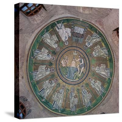 Mosaic in the dome of the Bapistry of the Arians, 5th century. Artist: Unknown-Unknown-Stretched Canvas Print