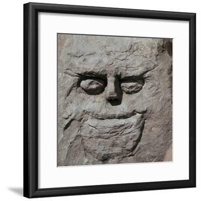 Stone head from a pagan Celtic shrine. Artist: Unknown-Unknown-Framed Giclee Print