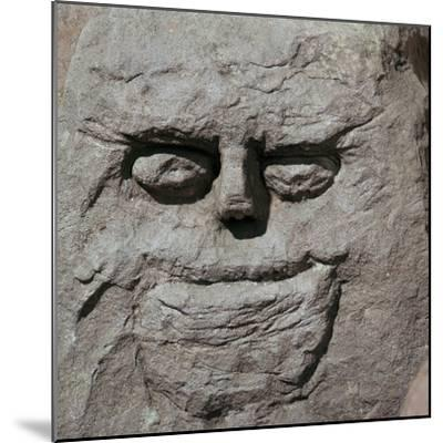 Stone head from a pagan Celtic shrine. Artist: Unknown-Unknown-Mounted Giclee Print