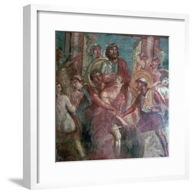 Roman wall-painting from the House of the Dioscuri in Pompeii, 1st centruy. Artist: Unknown-Unknown-Framed Giclee Print