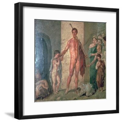 Roman wall-painting of Theseus after killing the Minotaur, 1st century. Artist: Unknown-Unknown-Framed Giclee Print