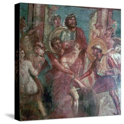 Roman wall-painting from the House of the Dioscuri in Pompeii, 1st centruy. Artist: Unknown-Unknown-Stretched Canvas Print