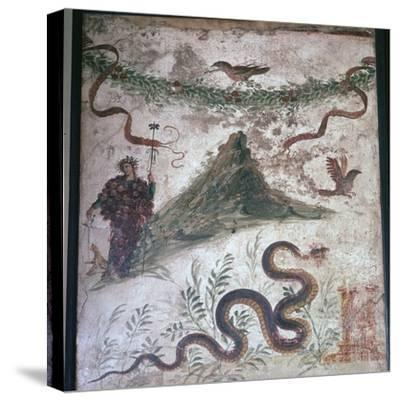 Roman wall-painting from Pompeii showing Vesuvius, 1st century. Artist: Unknown-Unknown-Stretched Canvas Print