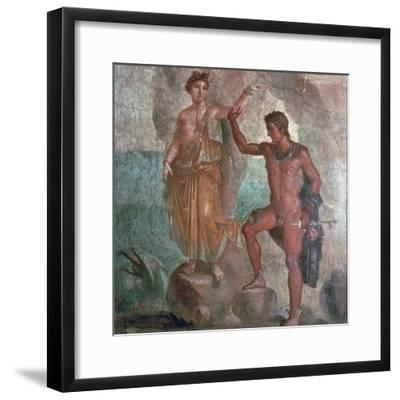 Roman wall-painting from the House of the Dioscuri in Pompeii, 1st century. Artist: Unknown-Unknown-Framed Giclee Print