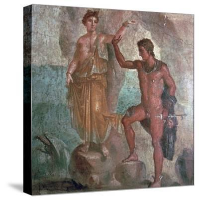 Roman wall-painting from the House of the Dioscuri in Pompeii, 1st century. Artist: Unknown-Unknown-Stretched Canvas Print