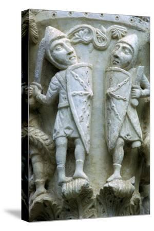 Detail of a column showing Norman Soldiers, 12th century. Artist: Unknown-Unknown-Stretched Canvas Print
