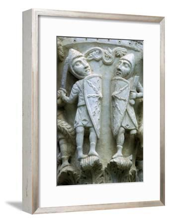 Detail of a column showing Norman Soldiers, 12th century. Artist: Unknown-Unknown-Framed Giclee Print