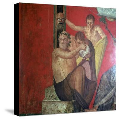 Wall-paintings in the Villa of the Mysteries, Pompeii, 1st century. Artist: Unknown-Unknown-Stretched Canvas Print