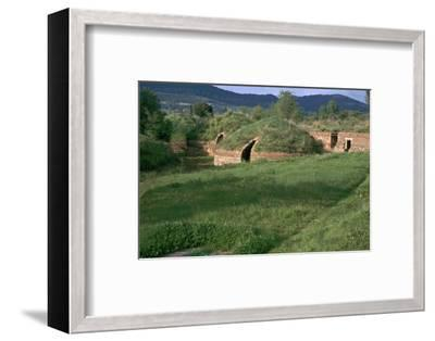 Etruscan tombs in the necropolis at Caere, 9th century BC. Artist: Unknown-Unknown-Framed Photographic Print