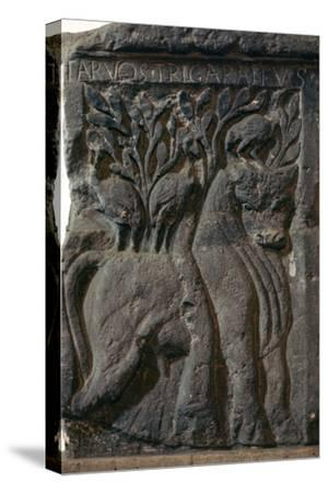 Depiction of a Celtic deity, a bull with three cranes, 1st century. Artist: Unknown-Unknown-Stretched Canvas Print