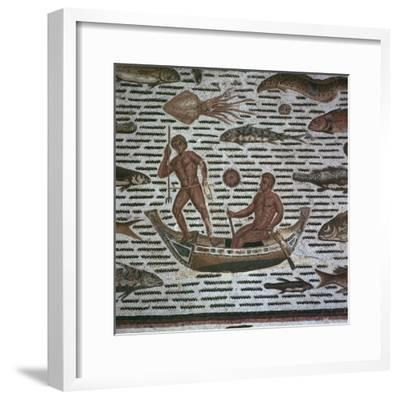 Roman mosaic of men fishing, 2nd century. Artist: Unknown-Unknown-Framed Giclee Print