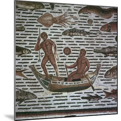 Roman mosaic of men fishing, 2nd century. Artist: Unknown-Unknown-Mounted Giclee Print