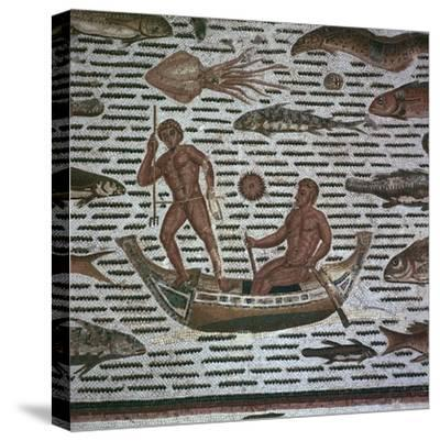 Roman mosaic of men fishing, 2nd century. Artist: Unknown-Unknown-Stretched Canvas Print