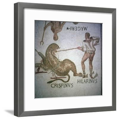 Roman mosaic of performers killing a leopard at a spectacle, 3rd century. Artist: Unknown-Unknown-Framed Giclee Print