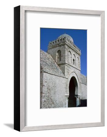 Tower and gateway into the courtyard of the Great Mosque in Kairouan, 9th century. Artist: Unknown-Unknown-Framed Photographic Print