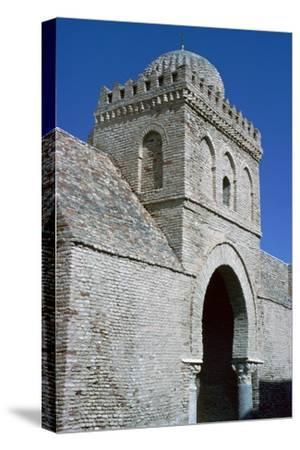 Tower and gateway into the courtyard of the Great Mosque in Kairouan, 9th century. Artist: Unknown-Unknown-Stretched Canvas Print