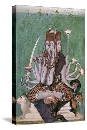 Painting of the god Siva with attributes. Artist: Unknown-Unknown-Stretched Canvas Print