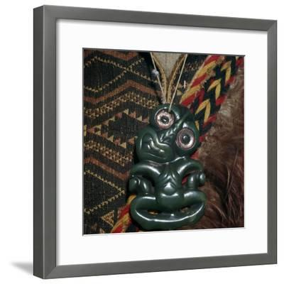 Protective Maori Tiki amulet, 19th century. Artist: Unknown-Unknown-Framed Giclee Print