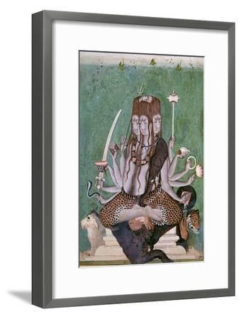 Painting of the god Siva with attributes. Artist: Unknown-Unknown-Framed Giclee Print