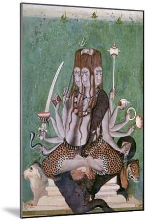 Painting of the god Siva with attributes. Artist: Unknown-Unknown-Mounted Giclee Print