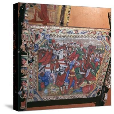 Depiction of the battle of Capua in 1501 on a painted cart, 16th century. Artist: Unknown-Unknown-Stretched Canvas Print