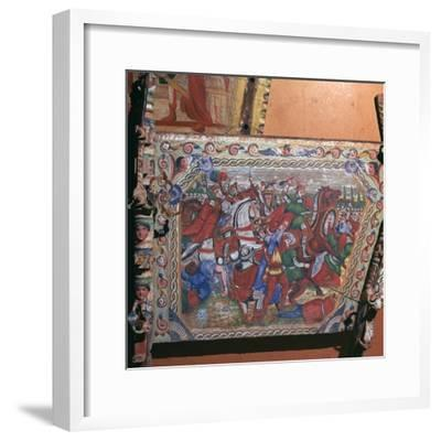 Depiction of the battle of Capua in 1501 on a painted cart, 16th century. Artist: Unknown-Unknown-Framed Giclee Print
