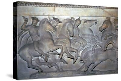 Detail from a Lycian sarcophagus of a boar hunt, 5th century BC. Artist: Unknown-Unknown-Stretched Canvas Print